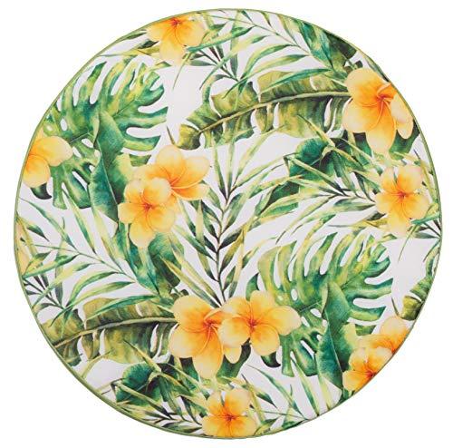 Brandseller - Cojín redondo para silla (diámetro de 40 cm x 3 cm), diseño de flores, color verde claro y amarillo