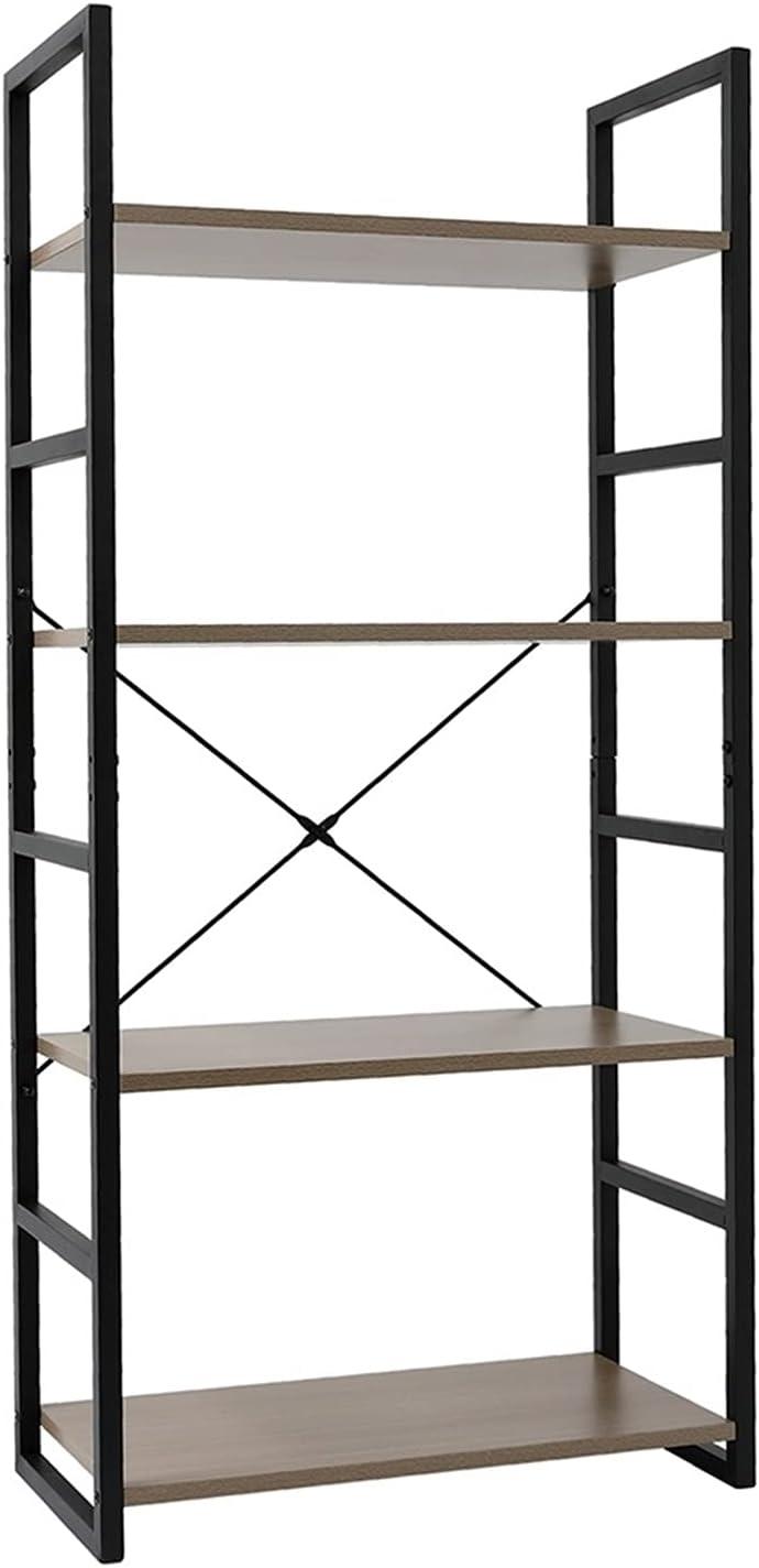 LLHW Translated 4-Tier Bookshelf Wood trust Bookcase with Metal Frames Industrial