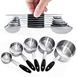 Warmheart Measuring Cups and Magnetic Measuring Spoons Set, Stainless Steel 5 Cups and 7 Spoons and 1 Levele (Measuring Cups Set)