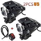 2 unidades 1 faro de moto aditional LED faro delantero de moto antiniebla proyector LED de 3000 lm U5 impermeable para moto Quad Scooter con interruptor de encendido y apagado de luces