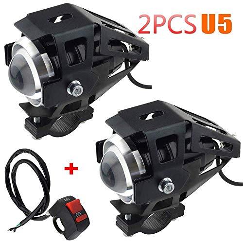 Faro adicional para moto–3000 lm–Luz LED frontal antiniebla U5impermeable–Para moto, quad, scooter–Con interruptor de encendido y apagado–2 unidades