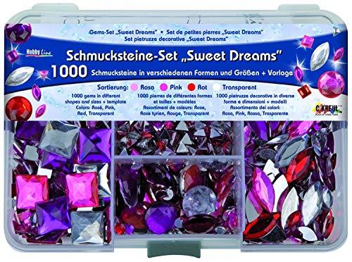 Kreul 49643 Sierstenen set Sweet Dream, voor het ontwerpen van modieuze accessoires en voor thuisdecoratie, 1000 stenen in de kleuren roze, roze en rood, in verschillende vormen en maten