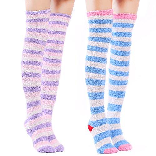 LittleForBig Süßes Tier Koralle Samt Oberschenkel/Knie-Lange Gestreifte Socken Kniestrümpfe 2 Paare - Einheitsgröße - Lila&blau