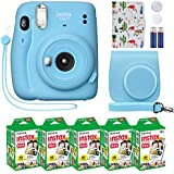 Fujifilm Instax Mini 11 Instant Camera Sky Blue + Custom Case + Fuji Instax Film Value Pack (50 Sheets) Flamingo Designer Photo Album for Fuji instax Mini 11 Photos