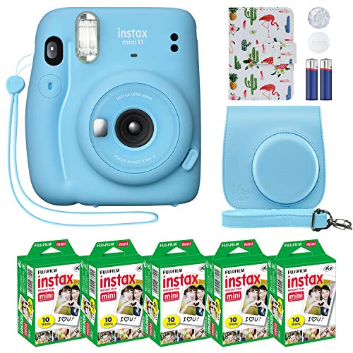 Fujifilm Instax Mini 11 Instant Camera Sky Blue + Custom Case + Fuji Instax Film Value Pack (50 Sheets) Flamingo Designer Photo Album for Fuji instax Mini 11 Photos