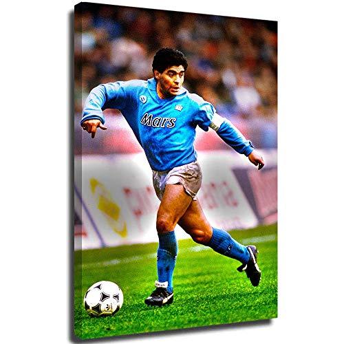 Snadkil Football Principe Maradona at Napoli - Stampa da parete con cornice Maradona at Napoli, 50,8 x 76,2 cm, per decorazione casa, allungata e pronta da appendere