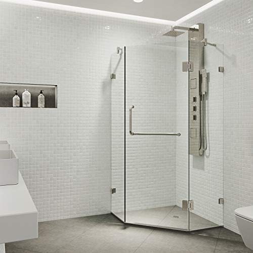 "VIGO VG6062BNCL40W Piedmont 40"" x 40"" inch Clear Glass Corner Frameless Neo-Angle Shower Enclosure, Hinged Shower Door with Magnalock Technology, Non-Slip White Base, and 304 Stainless-Steel Shower Hardware in Brushed Nickel Finish"