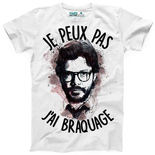 Kanto Factory T-Shirt La CASA de Papel El Professor Je Peux Pas J'Ai braquage (M)
