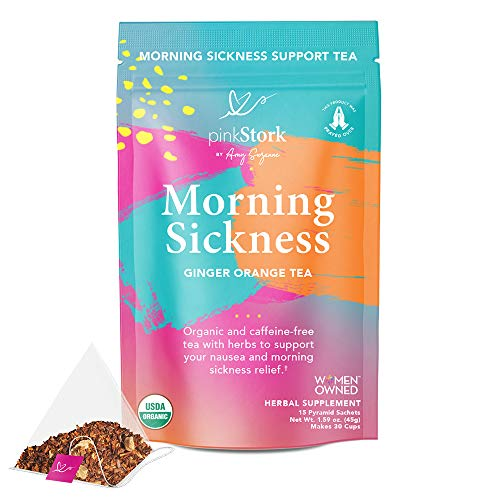 Pink Stork Morning Sickness Tea: Ginger Orange Pregnancy Nausea Tea, 100% Organic, Supports Digestion + Hydration During Pregnancy, Women-Owned, 30 Cups