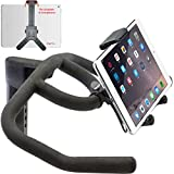 Universal iPad Tablet/Smartphone Strap-Lock Holder Mount for in Door Spin Bike Exercise Elliptical Treadmill Handlebar (Pad Mini Air PRO Phone 12 11 Galaxy Tab Note A S E S21 S20 Note)