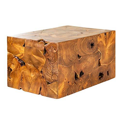 Invicta Interior Massiver Couchtisch Square 90cm Teakholz Würfel Handarbeit Massivholz Tisch Holztisch Wohnzimmertisch