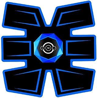 腹筋トレーナーEMS筋肉刺激装置、インテリジェント音声ブロードキャストとUSB充電付き腹部調色ベルト、男性と女性の腹部脚用筋トナー (Color : Voice-Blue 1, Size : B)