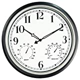 SecreShow 16 Inch Large Indoor Outdoor Wall Clock,Waterproof Non-Ticking Clock with Thermometer and Hygrometer Combo,Battery Operated Clock Wall Decorative- Silver