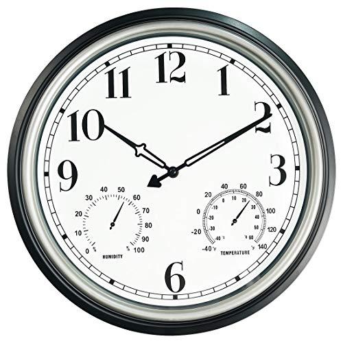 SecreShow 16 Inch Large Indoor Outdoor Wall Clock,Waterproof Non-Ticking Clock