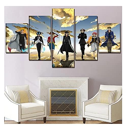 Tiiiytu Un Conjunto De Imágenes De Personajes Cruzados De Animación Cartel Decoración del Hogar Pintura Obras De Arte Lienzo Arte -40X60 40X80 40X100Cm Sin Marco