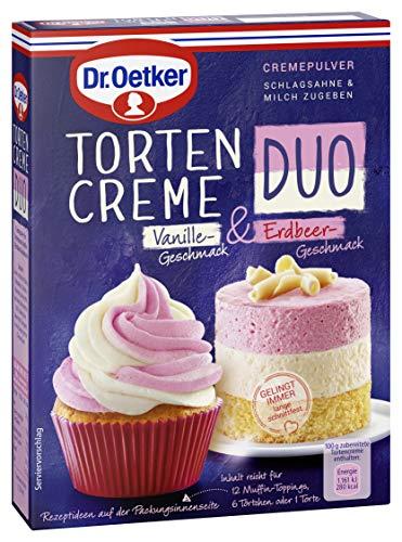 Dr. Oetker Tortencreme Duo Vanille und Erdbeergeschmack, 8er Pack (8 x 86 g)