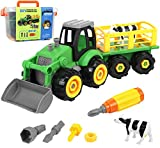 Take Apart Farm Tractor Toy with Livestock Transporter and Reusable Storage Box
