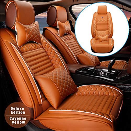 DBL Coprisedili in Pelle Auto per BMW 1 2 3 4 5 6 7 Series X1 X2 X3 X4 X5 X5M X6 X6M I3 I8 Z4 M1 M3 M4 M5 M6 Pelle 5 Posti Set Anteriori E Posteriori (Arancia)