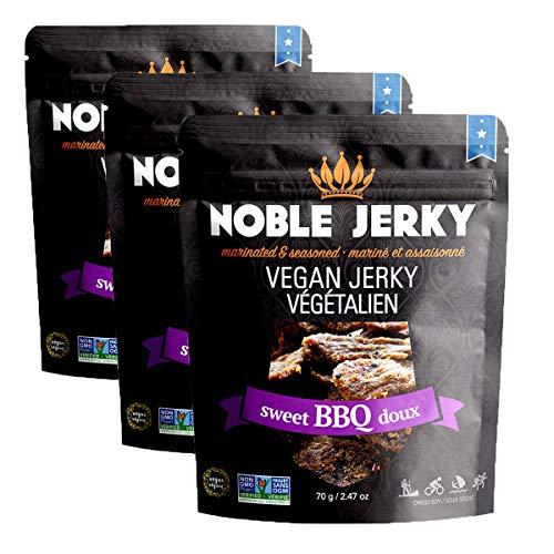 NOBLE JERKY – Sweet BBQ – Plant Based Vegan Jerky - Non-GMO Certified - 3 Pack