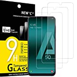 NEW'C 3 Unidades, Protector de Pantalla para Samsung Galaxy A50 (SM-A505F), Antiarañazos, Antihuellas, Sin Burbujas, Dureza 9H, 0.33 mm Ultra Transparente, Vidrio Templado Ultra Resistente