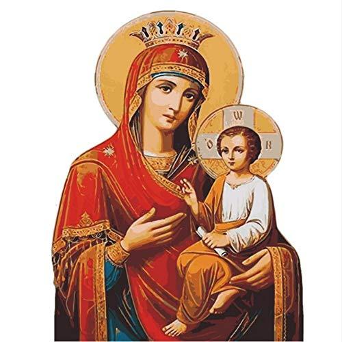 La Virgen María DIY Pintura por números Sin marco Kits de dibujo Pintura sobre lienzo Único para el hogar Arte de pared Imagen de mano pintura al óleo 80x100 cm Marco