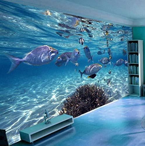 Behang van zijde, vliesstof, 3D, behang, tekening, creatief, onderwaterwereld, marineblauw, muur, kinderen, slaapkamer, aquarium, woonkamer, achtergrond, papier, Home Decor 300*210