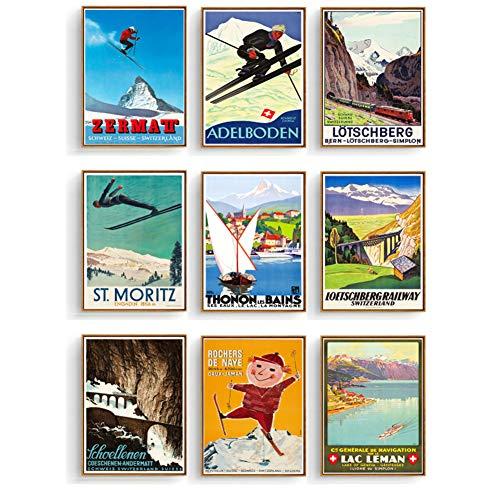 Retro reizen posters Zwitserland skischoen canvas schilderij afdrukken vintage kinderen poster klassieke kunst aan de muur voor de kinderkamer-30x40x9pcscm geen frame