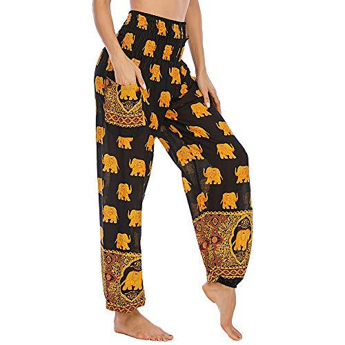 Nuofengkudu Mujer Hippie Thai Harem Pantalones con Bolsillo Boho Estampados Sueltos Pantalón Cintura Alta Indios Yoga Pants Pijama Verano Playa(W-Negro Elefante,Talla única)