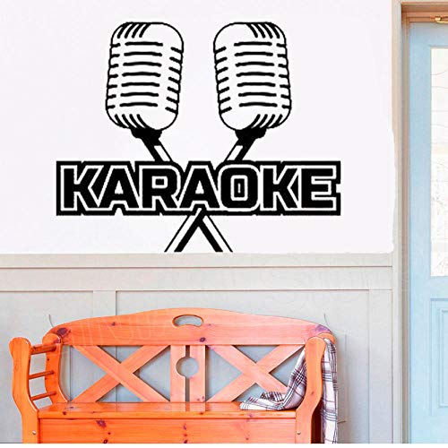 Karaoke Bar Microfoon MIC Muziek Art Stickers Mural voor Zanger Verwijderbare Vinyl Muursticker Kids Kamer Home Decor 52x42 cm