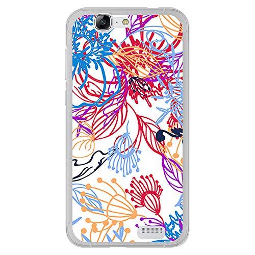 BJJ SHOP Transparent Hülle für [ Huawei Ascend G7 ], Klar Flexible Silikonhülle, Design: Abstrakte Malerei von Blumen