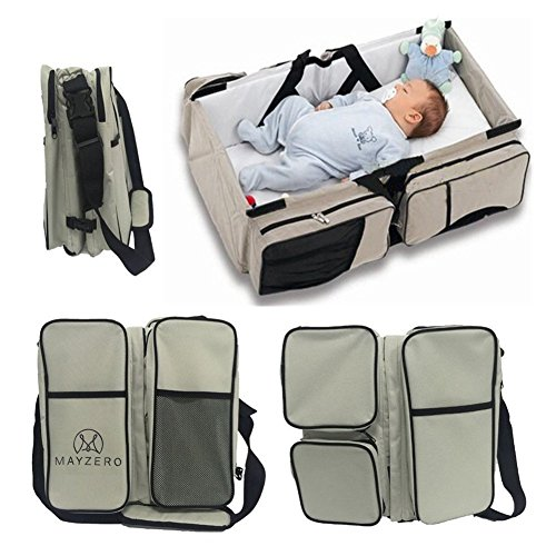 3 in 1 Diaper Bags Portable Crib Changing...