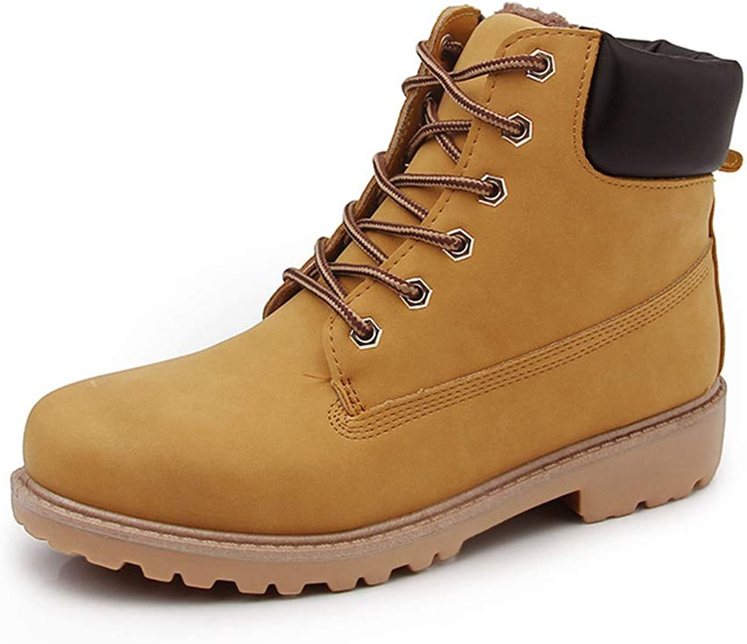 Women Casual Boots,Lace Up Ankle Combat Hiking Boots Work shoes Brown