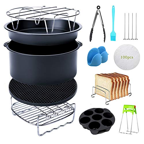 Air Fryer Accessories XL Compatible for Gowise USA COSORI Nuwave Ninja Tefal Cozyna Phillips Fit all 3.2QT - 5.8QT Air Fryer, BPA Free, Dishwasher Safe, Nonstick Coating, 7 inch Deep Fryer Accessories Set of 12