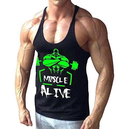Alivebody Canotta Palestra Uomo Bodybuilding Senza Maniche Stringer Veste Cotone Nero S