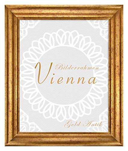 BIRAPA Bilderrahmen Vienna aus Massivholz 51x76 cm in Gold Antik Größen