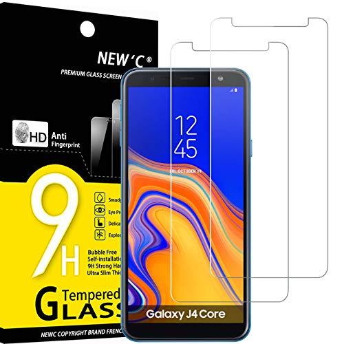 NEW'C 2 Stück, Schutzfolie Panzerglas für Samsung Galaxy J4 Core 2018, Frei von Kratzern, 9H Festigkeit, HD Bildschirmschutzfolie, 0.33mm Ultra-klar, Ultrawiderstandsfähig