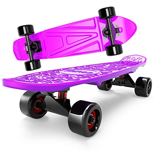 Penny Board, 24 Inch Cruiser Skateboards Long Boards Osprey Skateboard,Portable Pastel Penny Board PU Beef Tendon Wheel, for Teens Beginners Adult Girls Boys (Purple)