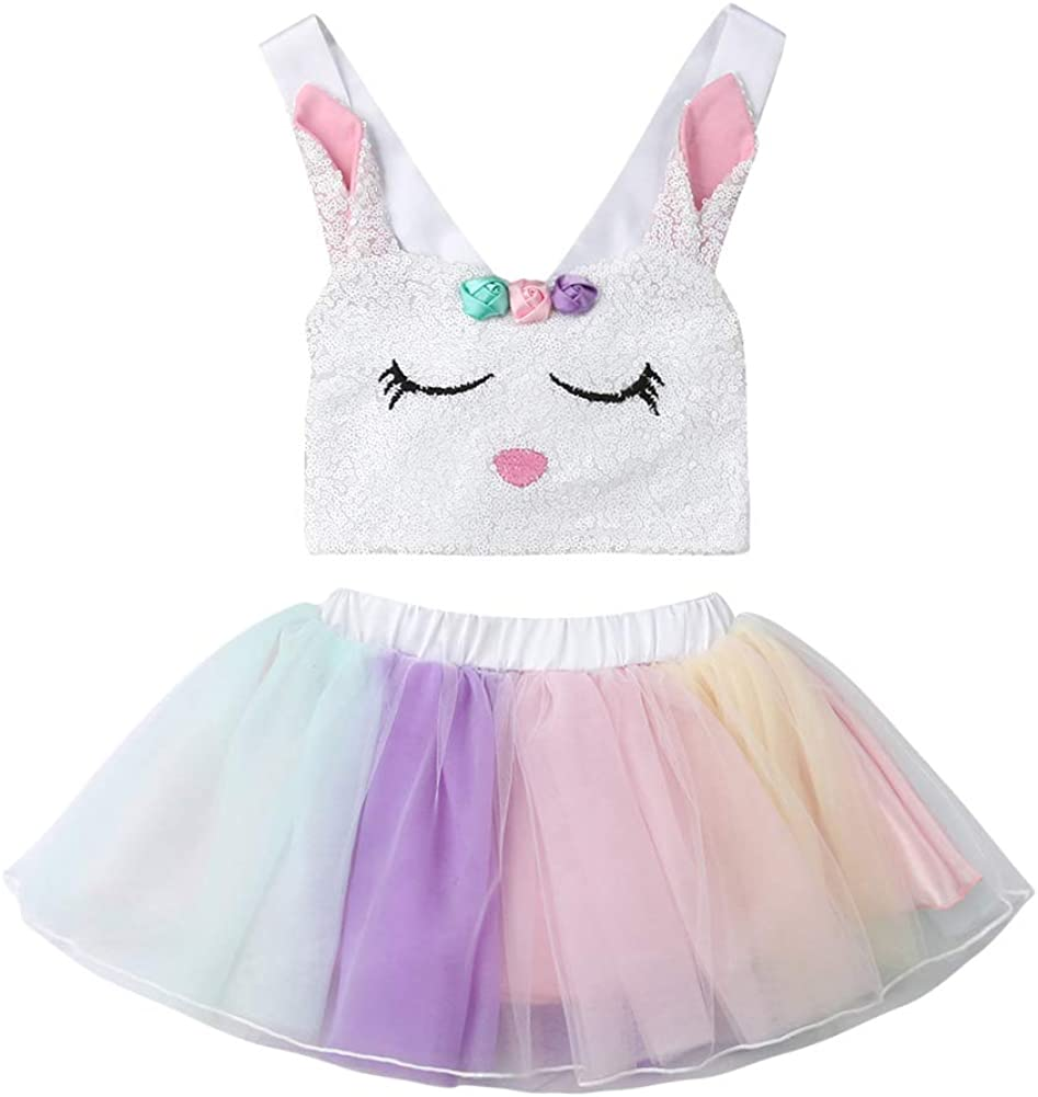 Toddler Kids Easter Outfit Baby Girls Sequin Bunny Crop Top + Tutu Tulle  Skirt Sets