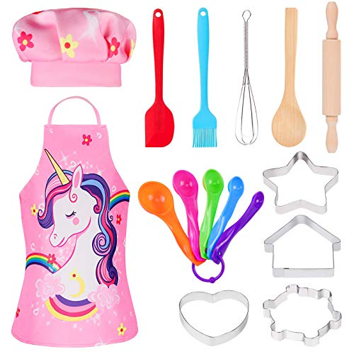 Tacobear 16 Pezzi Set da Cuoco per Bambini Unicorno Chef Costume Bambino Chef Gioco Accessori Bambini Che Giocano di Ruolo per Natale Halloween Festa Carnevale