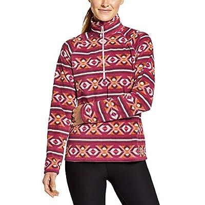 Eddie Bauer Women's Quest Fleece 1/4-Zip - Printed, Ruby Regular L