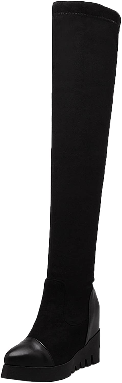 BIGTREE Over The Knee Boots Women Elastic Platform Increased Wedge Black Fall Winter Thigh High Boots