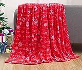 Elegant Comfort Velvet Touch Ultra Plush Christmas Holiday Printed Fleece Throw/Blanket-50 x 60inch, (Red Snowflake)