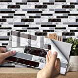 TOPLIVING Waterproof Peel and Stick Backsplash,Self-Adhesive Kitchen Backsplash Tiles,Removable Wall Sticker with Black and White Marble(27 Sheets 7.87'x3.94'Not Real Wall Tiles)
