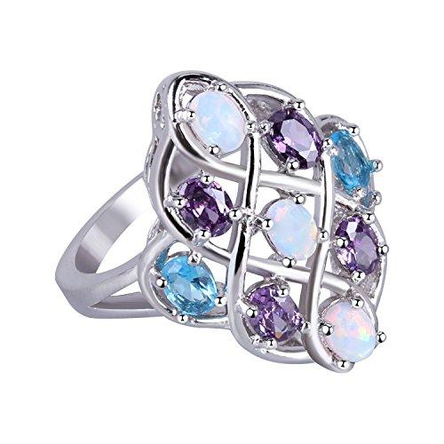 KELITCH, anillos para mujer, anillo de apilamiento de doble línea para niñas, anillo de cuerda trenzada, luna plateada con ópalo azul redondo 1A-7