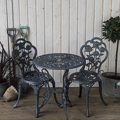 Lazy Susan London Rose 60cm Round 2 Seater | Sand-cast Aluminium Garden Furniture Set | Weatherproof | Maintenance Free | Matching Bistro Chairs | Slate Grey Finish