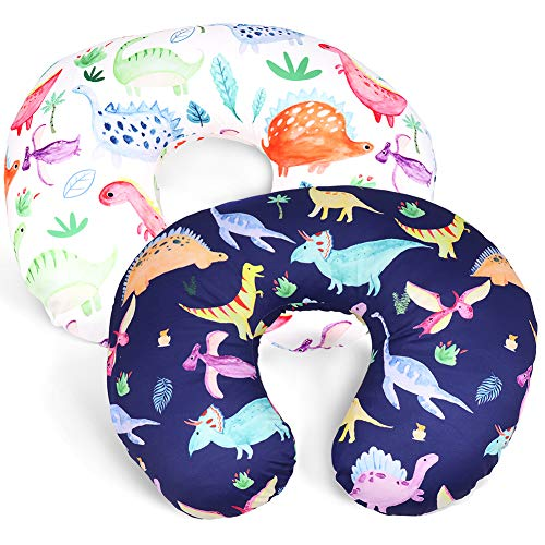 Dinosaur Nursing Pillow Cover Set for Baby Boys or Girls, 2Pack Twins Breastfeeding Pillow Slipcover Cushion Cover, Soft Fabric Fits Snug On Infant,Fits for Nursing Pillow Newborn
