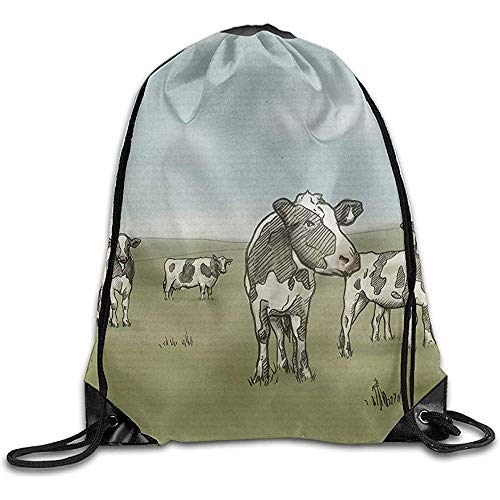 BOUIA Gym Trekkoord Tassen Koeien Tekenen Behang Teken Touw Winkelen Reizen Rugzak Tote Student Camping 36X43CM