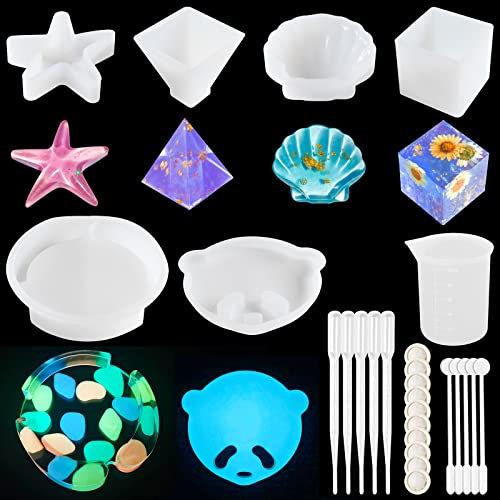 Silicone Resin Molds 6PCS Epoxy Resin Molds for Beginners with Resin Art, Including Pyramid, Cube, Starfish, Shell, Panda Face Coaster Mold Set with Measuring Cup, Finger Cot, Mixer, Dropper