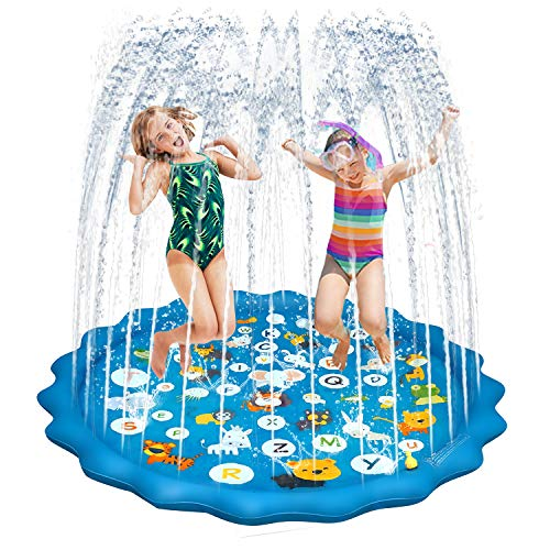"【New Upgraded】 Dritrip Sprinkler pad for Kids 68"" Toddlers Splash Pad Funny Sprinkler Play Mat Baby Infant Wading Swimming Pool Outdoor Water Mat Toys for 1-12 Years Old Boys Girls"