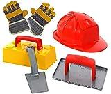 KSS Sandspielzeug Set Maurer Helm , Sandform Stein , Maurerkelle , Putzkelle , Arbeitshandschuhe für Kinder von 3-10 Jahren Strandspielzeug